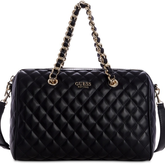 Guess Sweet Candy Satchel Black quilted NWT 6d21f71fdc3b7